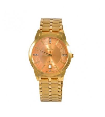 Đồng hồ nam cao cấp Omega Saphire OM_802 mặt vàng