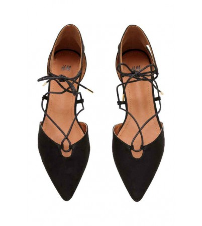 Flat court shoes with lacing-XD4